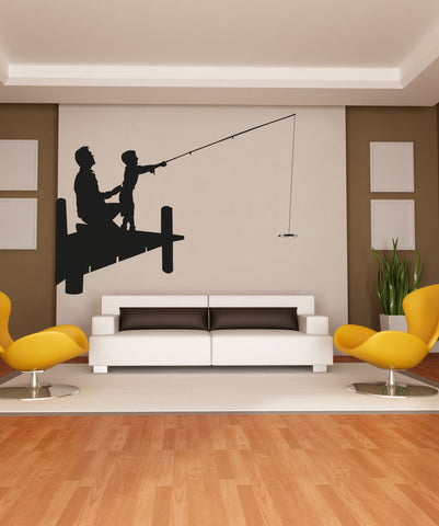 Vinyl Wall Decal Sticker Father and Son Fishing #OS_AA710