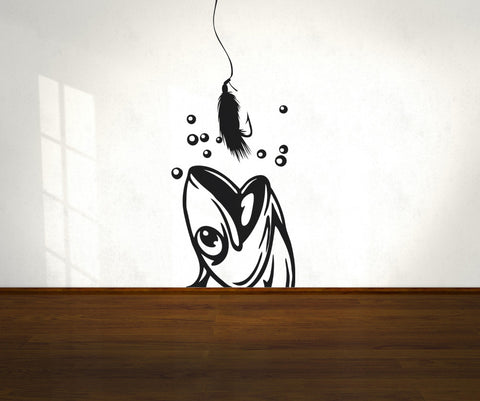 Vinyl Wall Decal Sticker Fish and Hook #OS_AA712