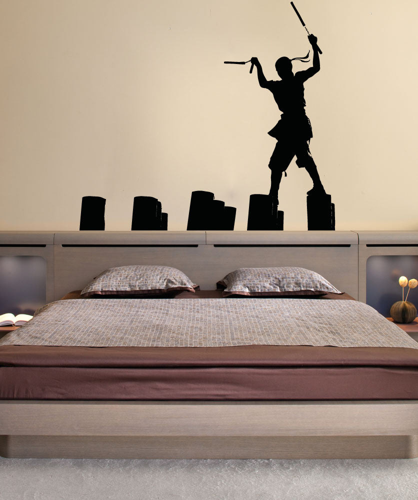 Vinyl Wall Decal Sticker Ninja Nunchucks #OS_AA726