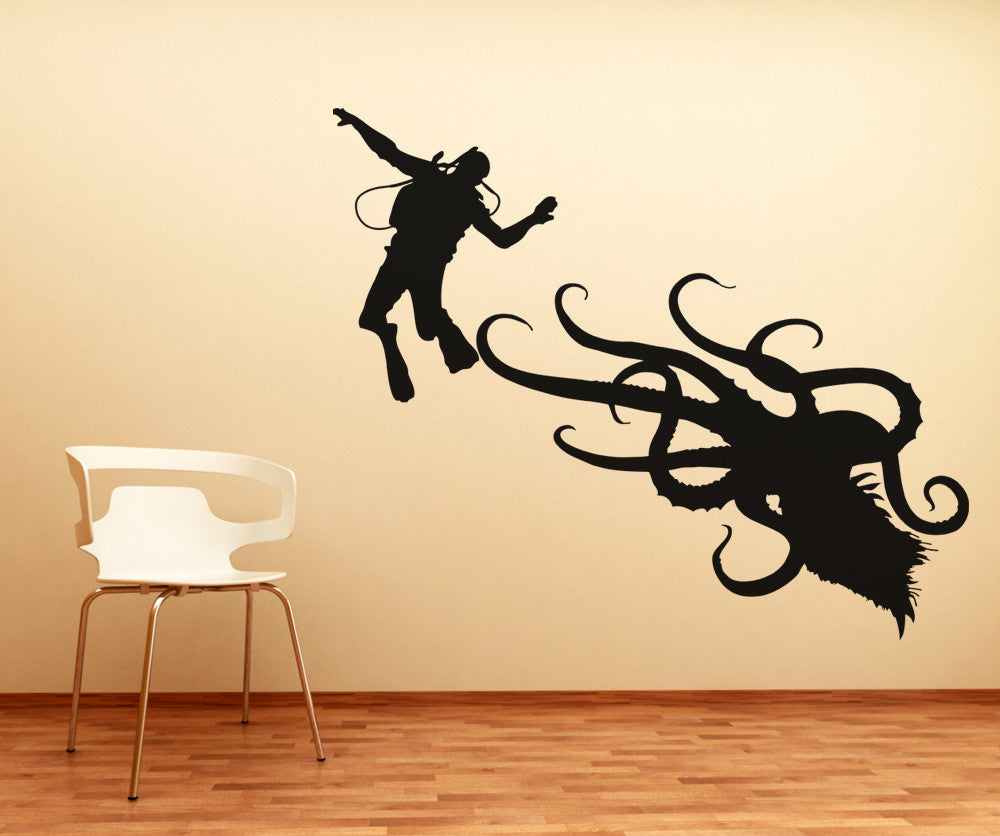vinyl wall decal sticker scuba diver and octopus os aa746. Black Bedroom Furniture Sets. Home Design Ideas