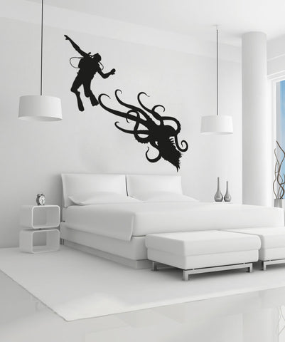 Vinyl Wall Decal Sticker Scuba Diver and Octopus #OS_AA746
