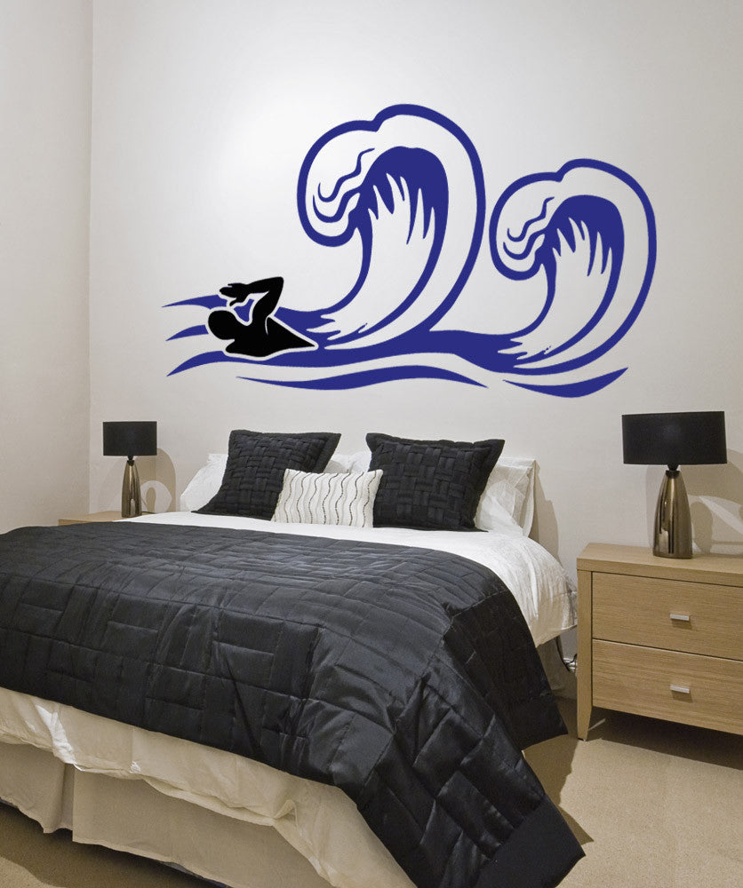Vinyl Wall Decal Sticker Swimming with Waves #OS_AA772