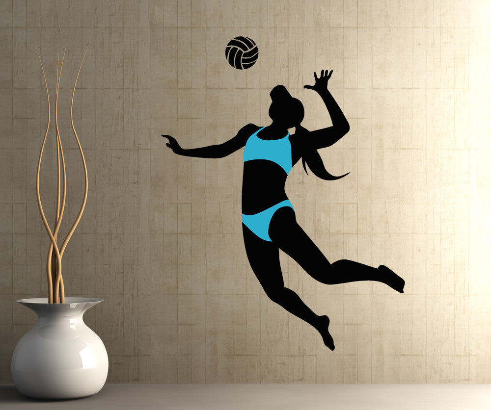 Vinyl Wall Decal Sticker Woman Volleyball Player OSAA - Vinyl volleyball wall decals
