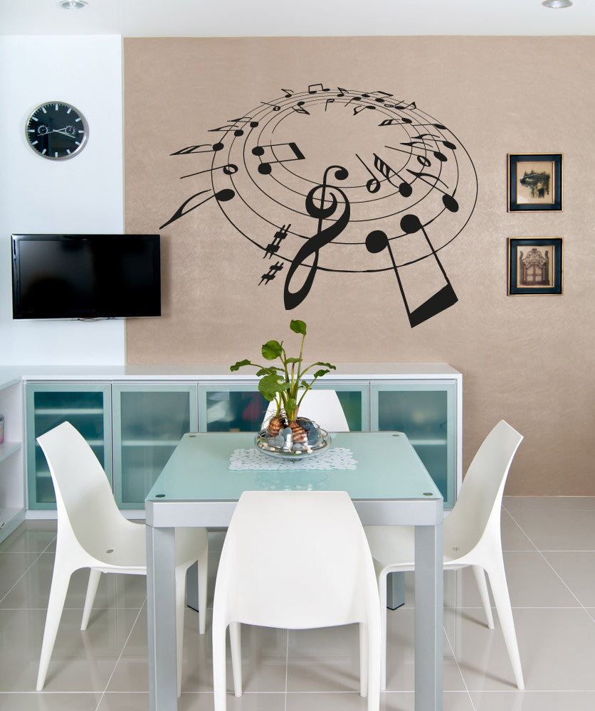 Vinyl Wall Decal Sticker Music Note Circle #OS_AA813