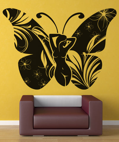 Vinyl Wall Decal Sticker Lady Butterfly #OS_AA864