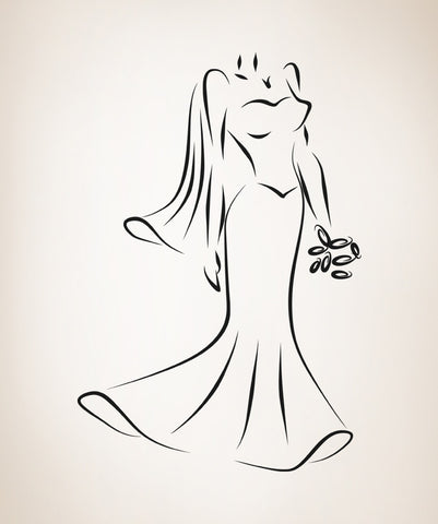 Vinyl Wall Decal Sticker Bridal Gown #OS_AA890