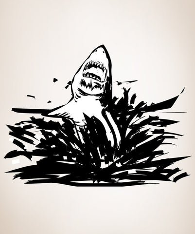 Shark Attack Jumping out of Ocean Vinyl Wall Decal Sticker. #OS_DC103