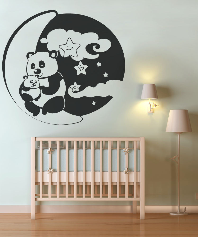 Vinyl Wall Decal Sticker Pandas With Moon and Stars #OS_DC133