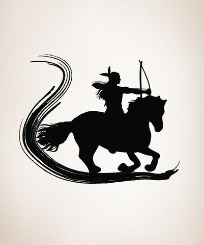 Vinyl Wall Decal Sticker Native American on Horse with Brush Stroke #OS_DC138
