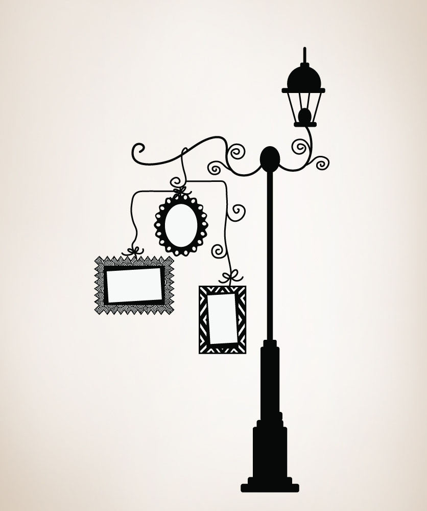 Vinyl wall decal sticker lampost with picture frames osdc161 amipublicfo Choice Image