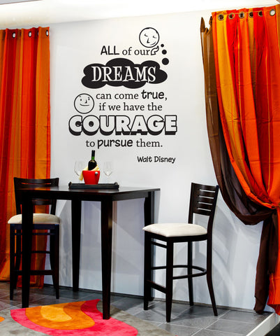 "Vinyl Wall Decal Sticker ""Dreams Can Come True"" Quote #OS_DC301"