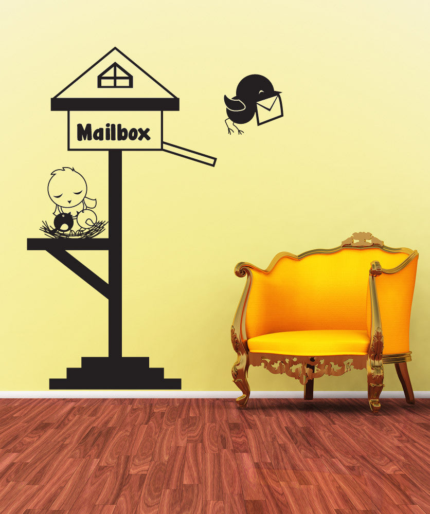Vinyl Wall Decal Sticker Bird Mailbox #OS_DC439