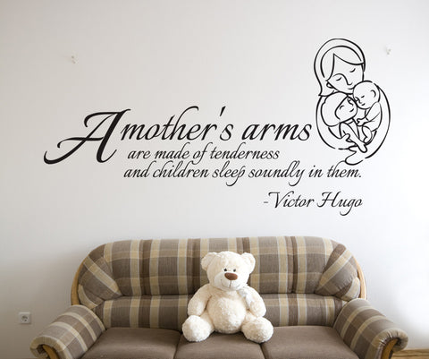 Vinyl Wall Decal Sticker Mother's Arms Quote #OS_DC505
