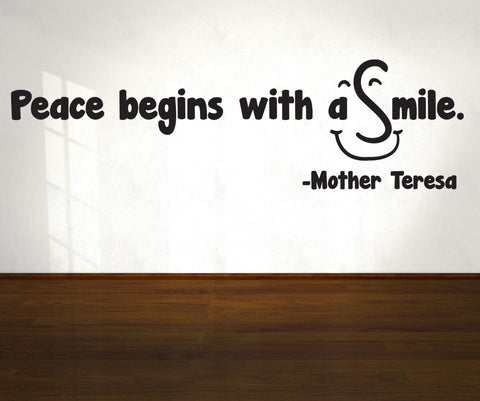 Vinyl Wall Decal Sticker Peace Begins With A Smile Os
