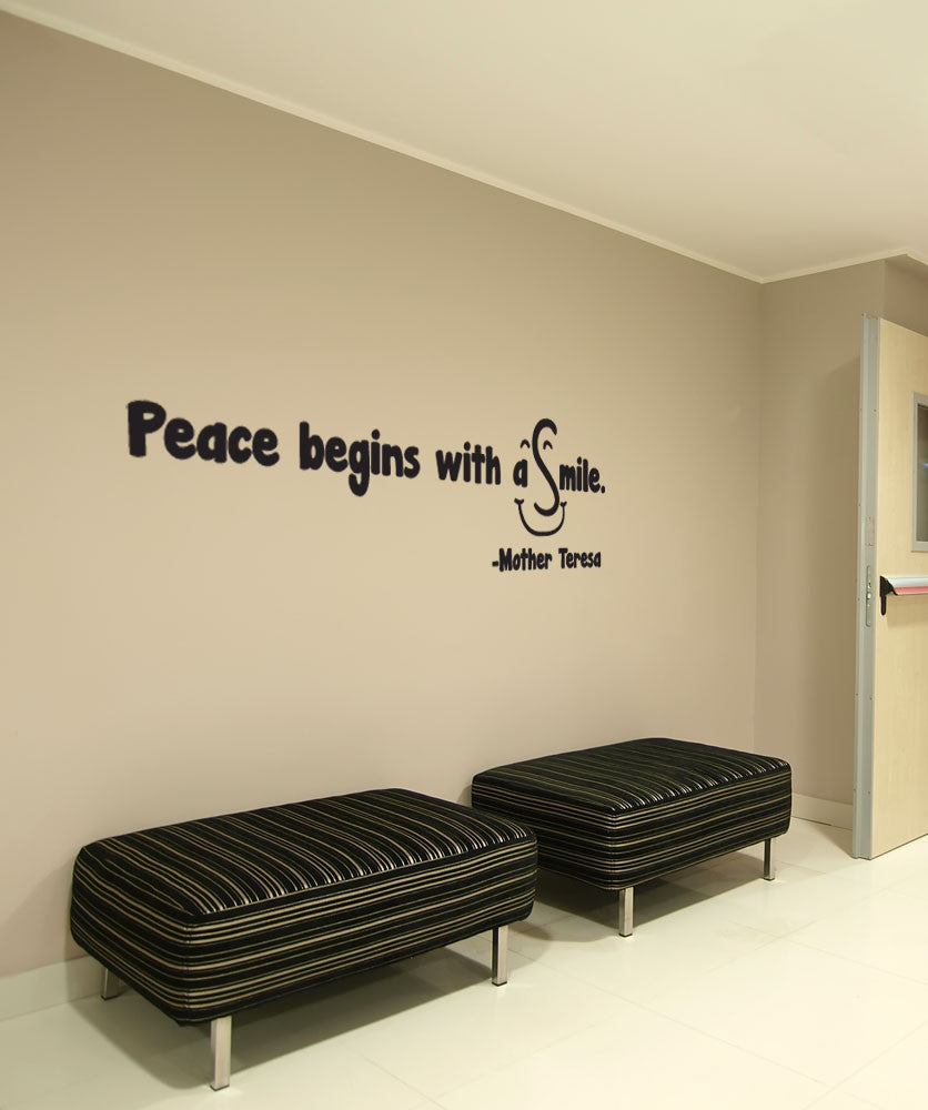 Vinyl Wall Decal Sticker Peace Begins with a Smile #OS_DC511