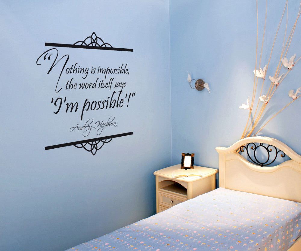 vinyl wall decal sticker audrey hepburn quote nothing is