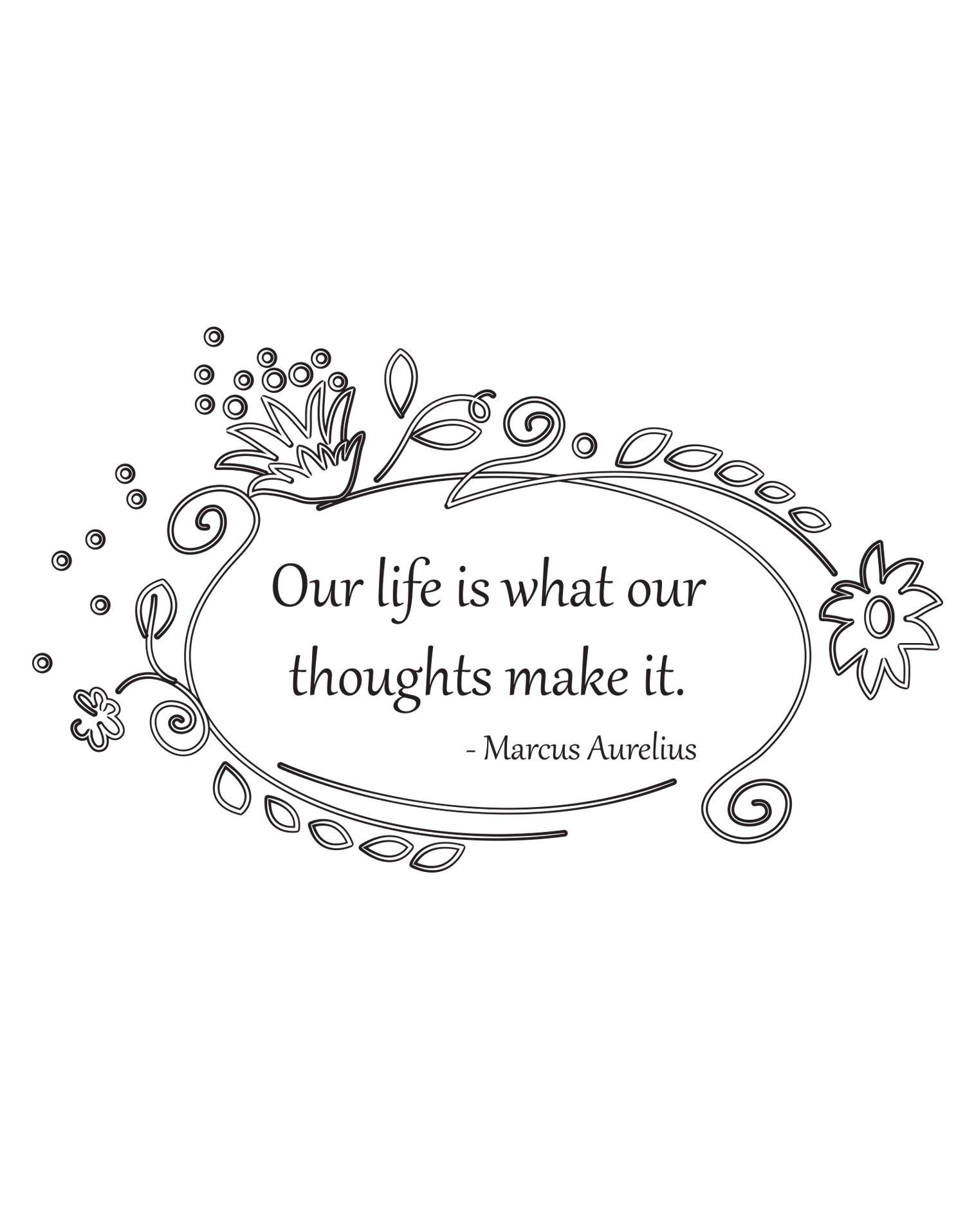 """Our Life is what our thoughts make it."" -Marcus Aurelius Motivational Wall decal Quote. #OS_DC533"