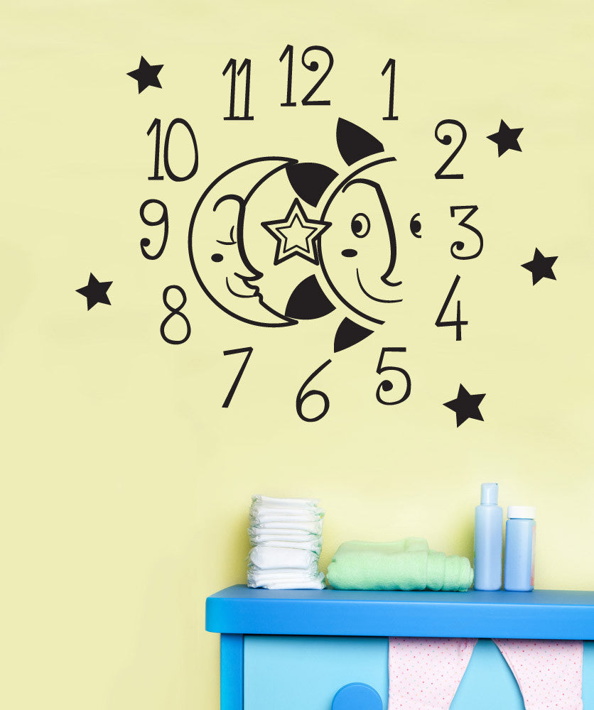 Vinyl Wall Decal Sticker Moon and Sun Clock #OS_DC572