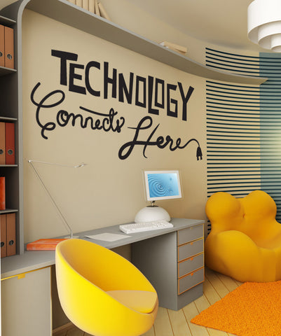 Vinyl Wall Decal Sticker Technology Connects Here #OS_DC576