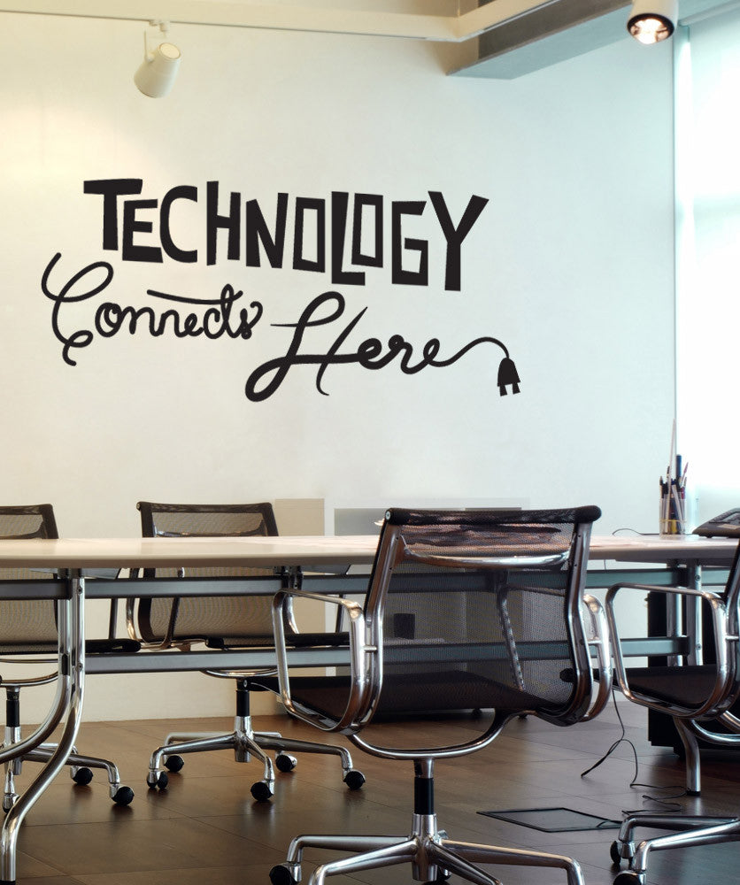 Vinyl Wall Decal Sticker Technology Connects Here #OS_DC576 & Technology Wall Stickers | Office Wall Decals | StickerBrand