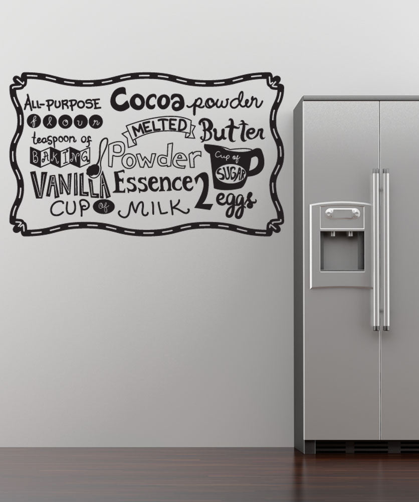 Vinyl Wall Decal Sticker Baking Ingredients #OS_DC580