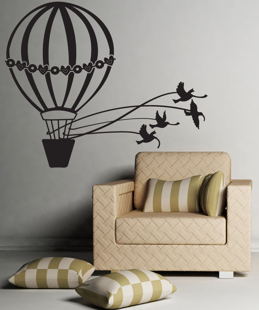 Vinyl Wall Decal Sticker Doves and Hot Air Balloon #OS_DC645