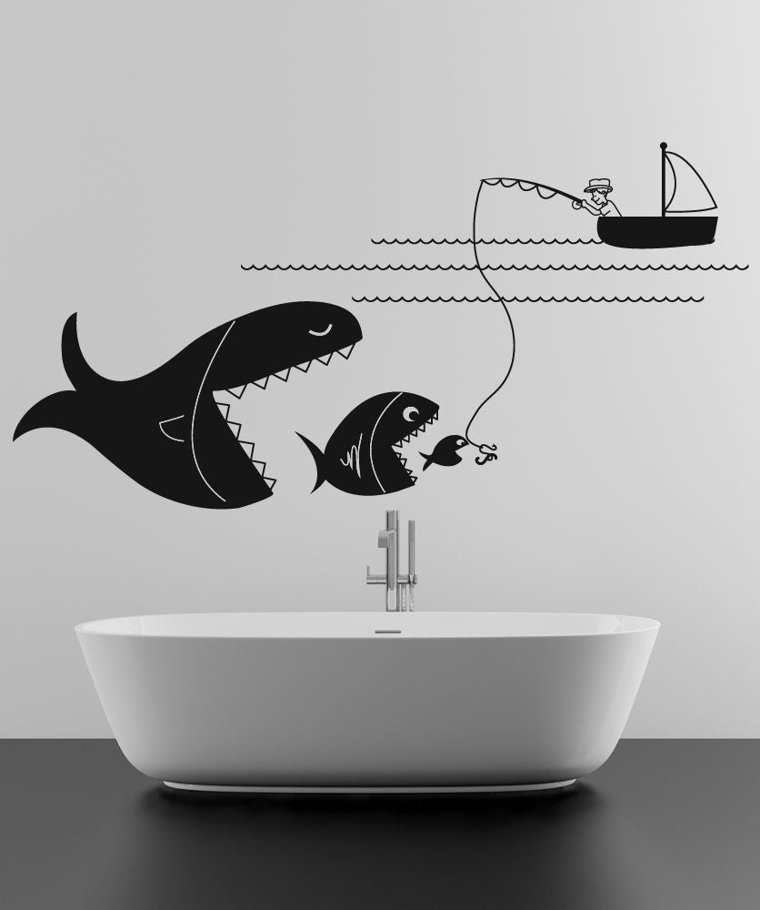 Vinyl Wall Decal Sticker Big Fishing #OS_DC647
