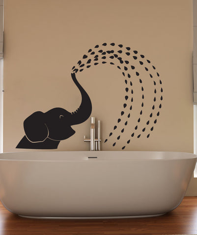 Vinyl Wall Decal Sticker Spraying Elephant #OS_DC649
