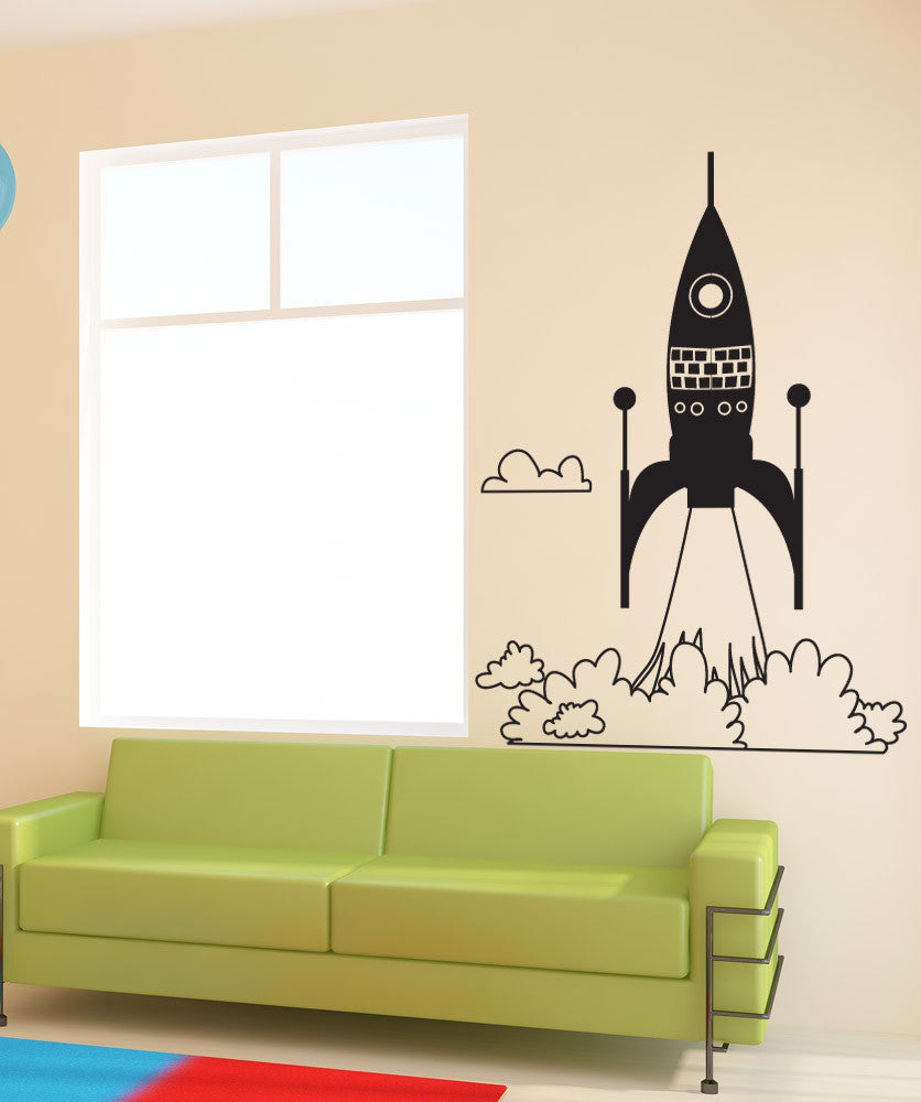 Vinyl Wall Decal Sticker Rocket Ship Take Off #OS_DC653