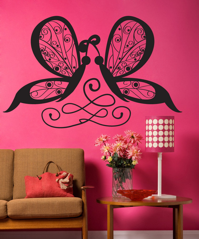 Vinyl Wall Decal Sticker Intertwined Butterflies #OS_DC662