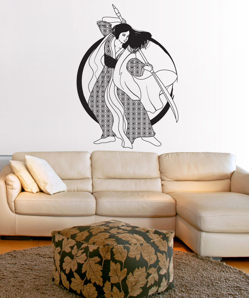 Vinyl Wall Decal Sticker Samurai Girl #OS_DC674