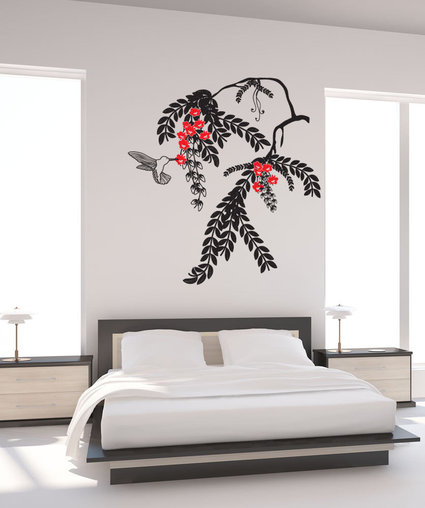 Vinyl Wall Decal Sticker Hummingbird and Plant #OS_DC677