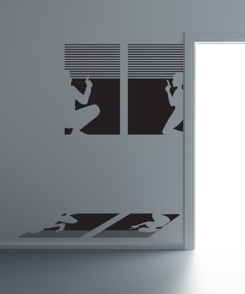 Vinyl Wall Decal Sticker Secret Agents in Window #OS_DC679