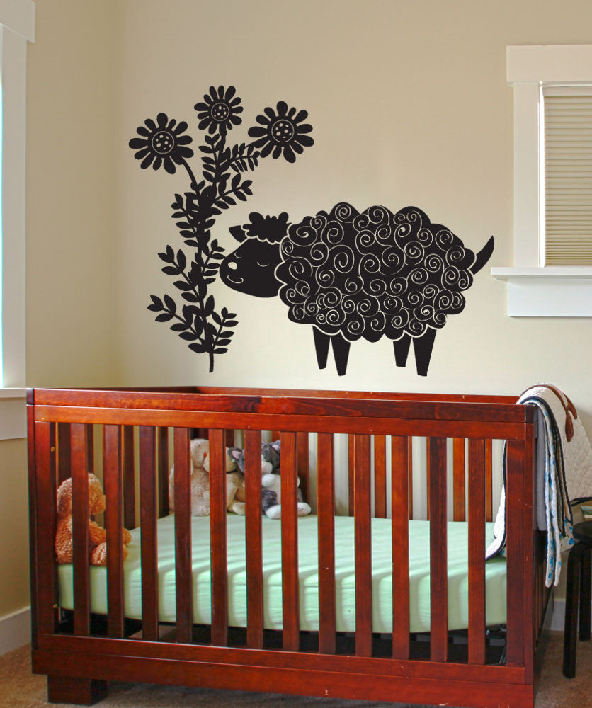 Vinyl Wall Decal Sticker Sheep and Flowers #OS_DC694