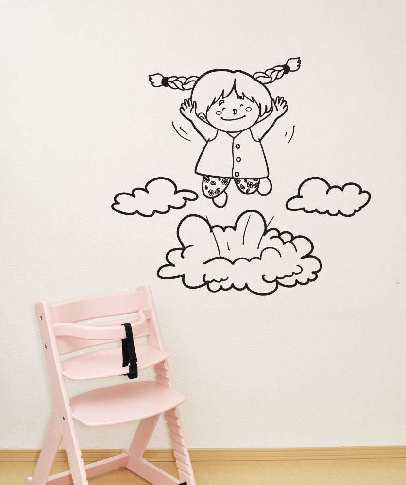 Vinyl Wall Decal Sticker Girl Hopping on Clouds #OS_DC700