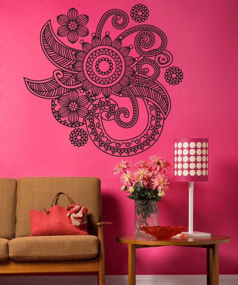 Wall Art Stickers Qatar : Vinyl wall decal sticker floral henna os dc