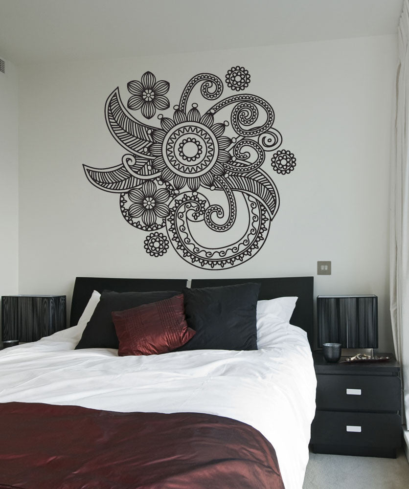 Vinyl Wall Decal Sticker Floral Henna Os Dc706