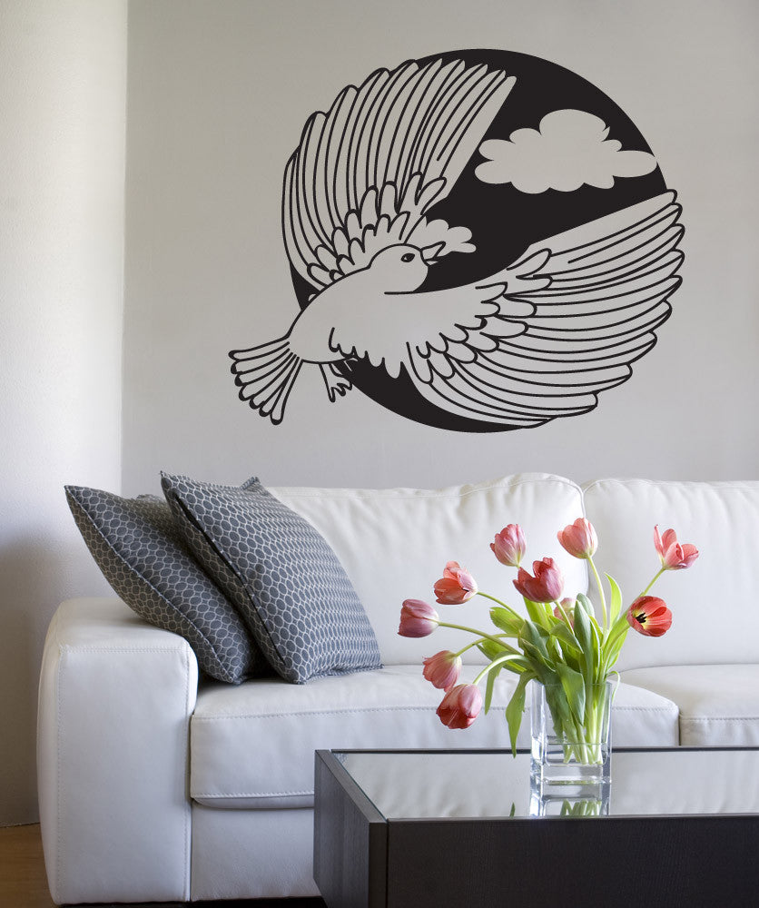 Vinyl Wall Decal Sticker Flying Bird Circle #OS_DC728