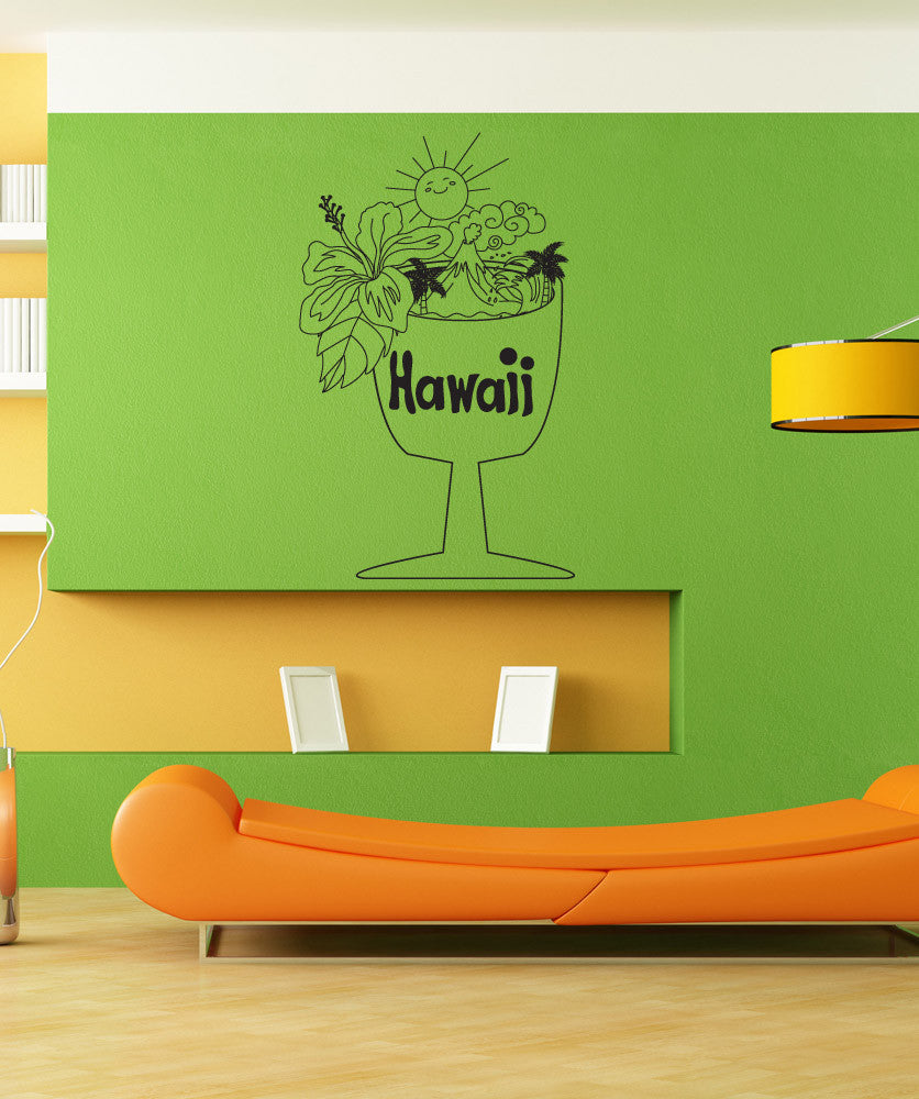 Vinyl Wall Decal Sticker Hawaiian Cup #OS_DC733