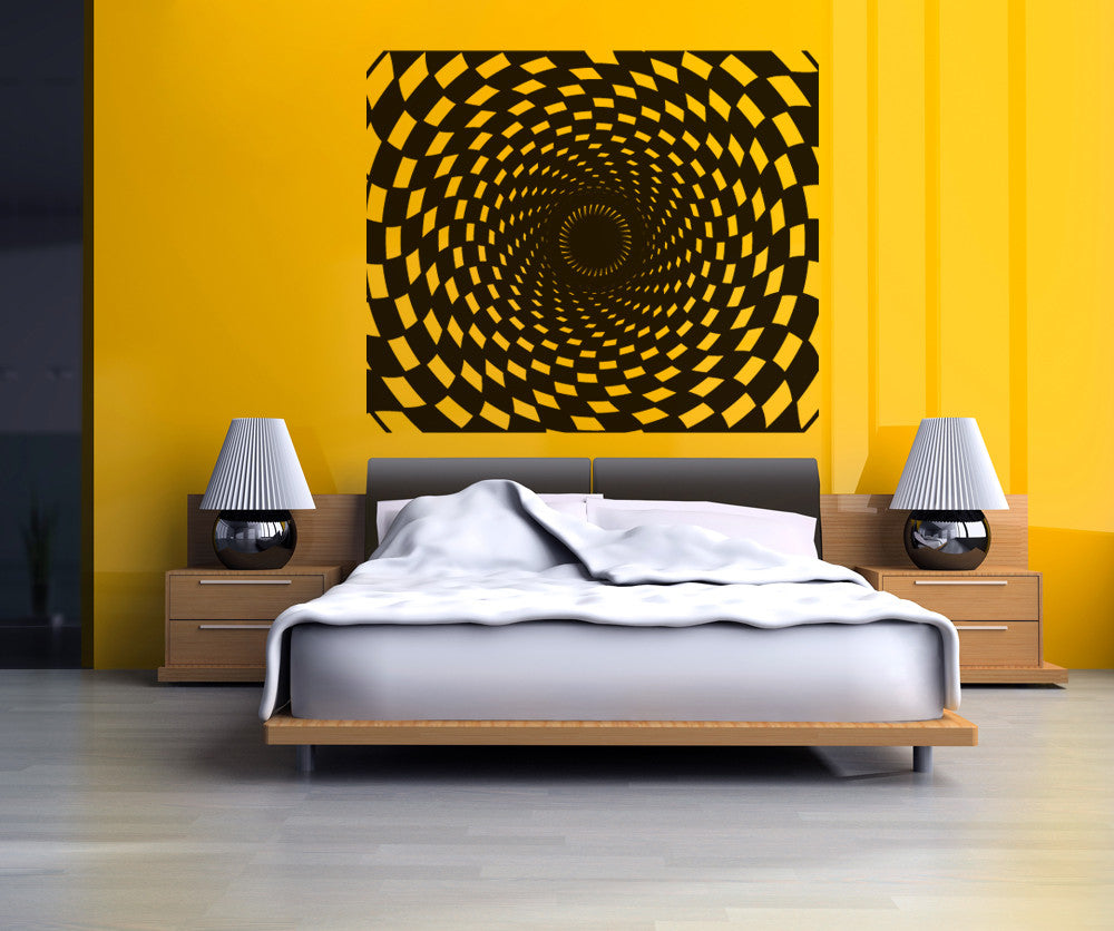 Vinyl Wall Decal Sticker Checkerboard Spiral #OS_DC773