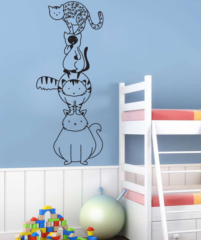 Vinyl wall decal sticker stacked cats osdc786 amipublicfo Image collections