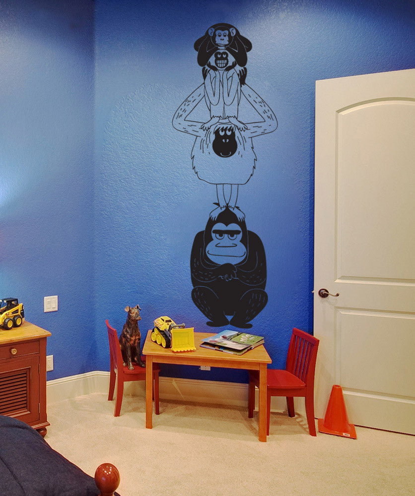 Vinyl Wall Decal Sticker Stacked Monkeys #OS_DC787