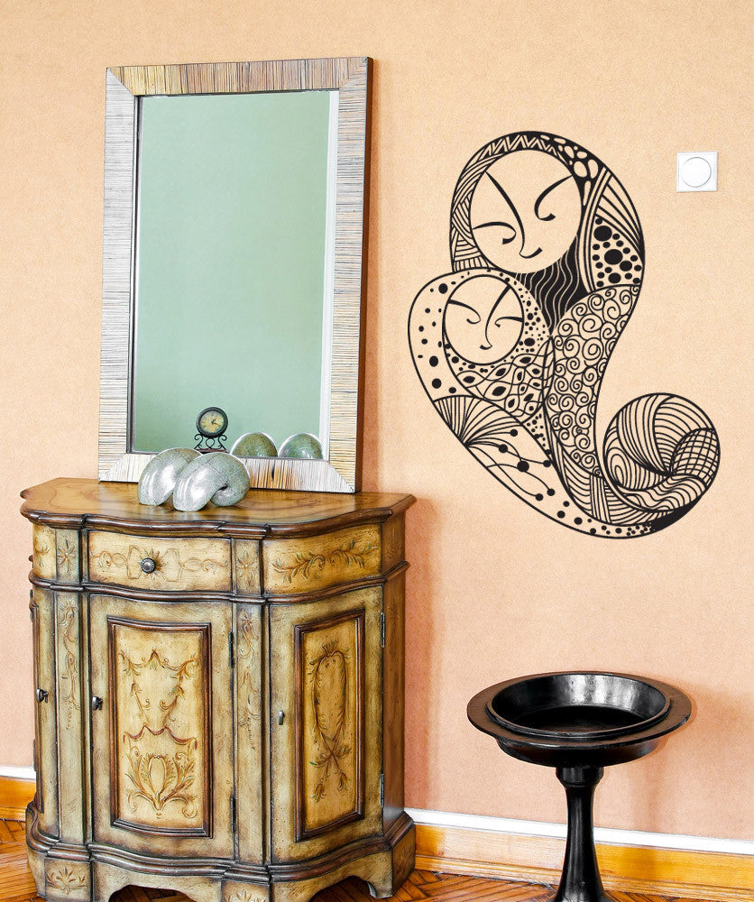 Vinyl Wall Decal Sticker Mother and Child Paisley Design #OS_DC790