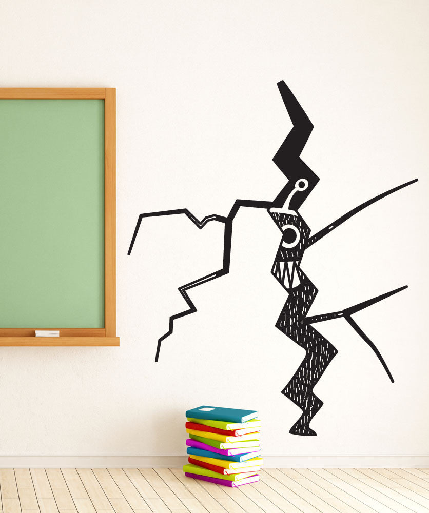 Vinyl Wall Decal Sticker Monster Through Cracked Wall #OS_DC797