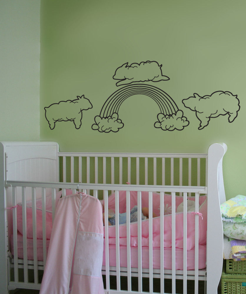 Vinyl Wall Decal Sticker Sheep Clouds with Rainbow #OS_DC800