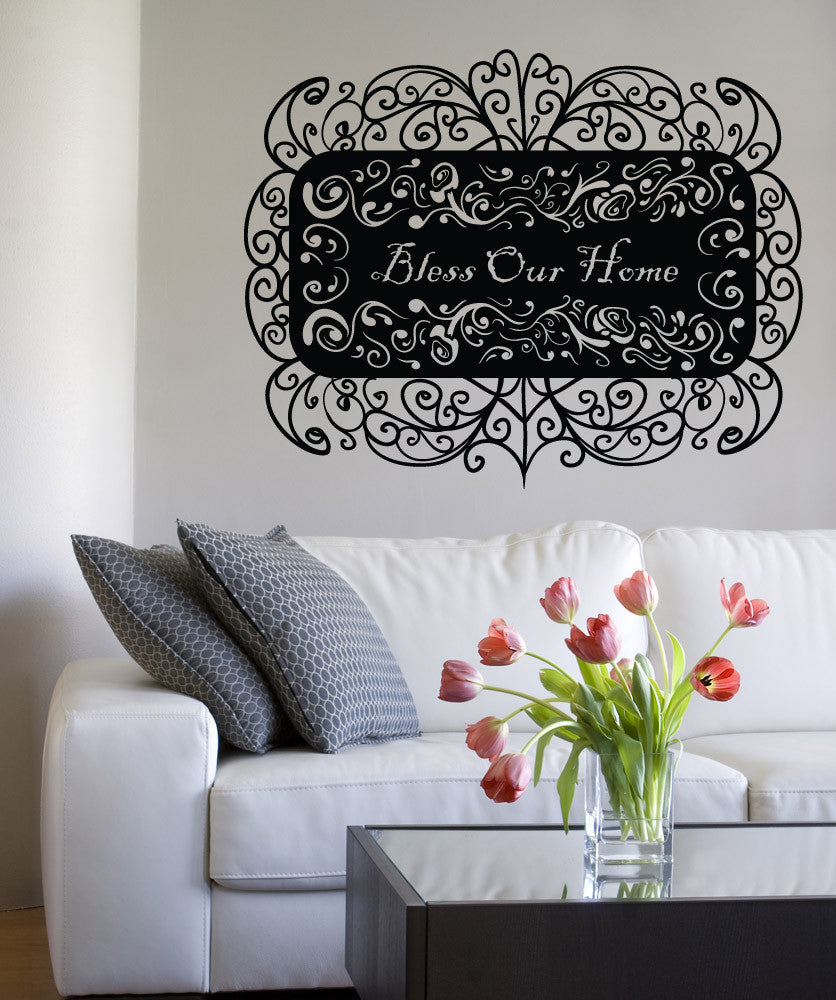 Vinyl Wall Decal Sticker Bless Our Home #OS_MB1022