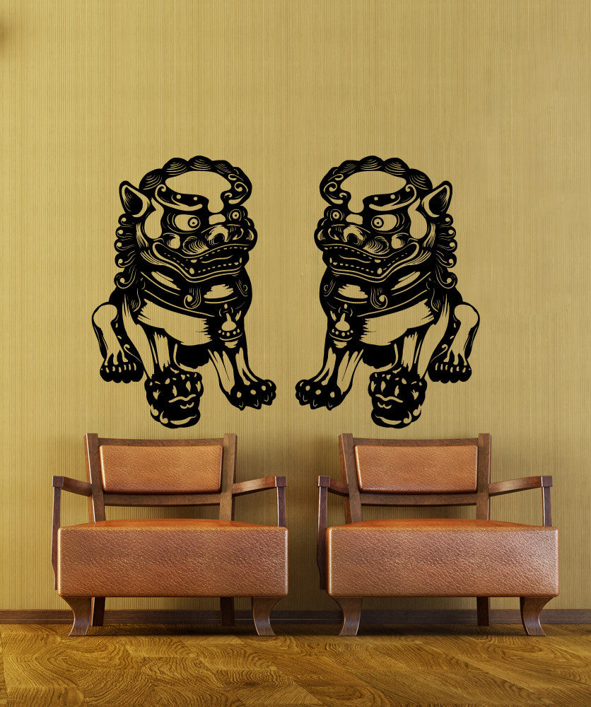 Vinyl Wall Decal Sticker Chinese Guardian Statues #OS_MB1107
