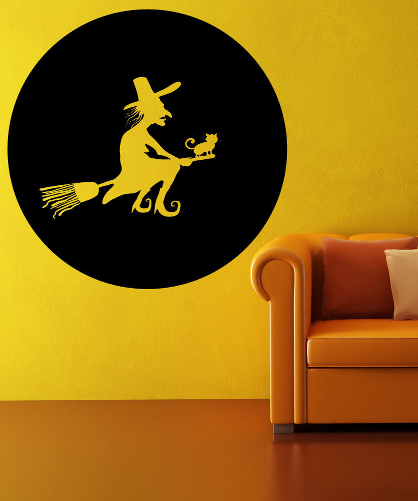 Vinyl Wall Decal Sticker Witch on a Broom #OS_MB1115