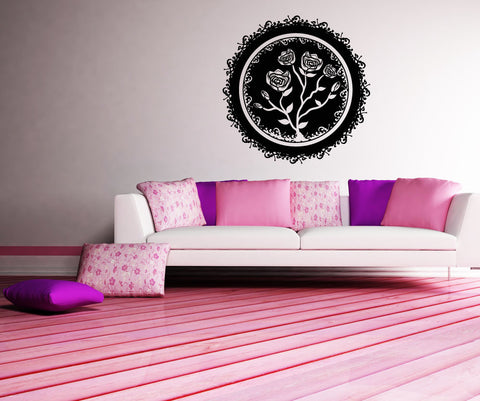 Vinyl Wall Decal Sticker Circular Rose #OS_MB111