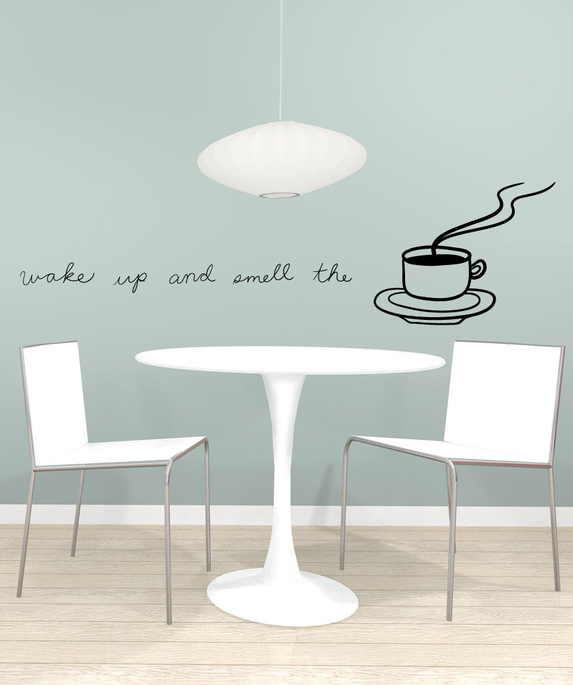 Vinyl Wall Decal Sticker Wake Up and Smell the Coffee #OS_MB1143